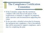 the compliance certification committee20