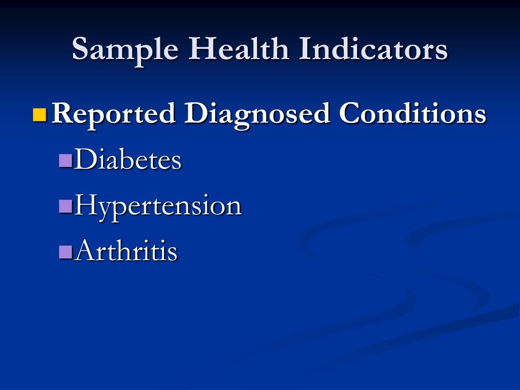 Sample Health Indicators