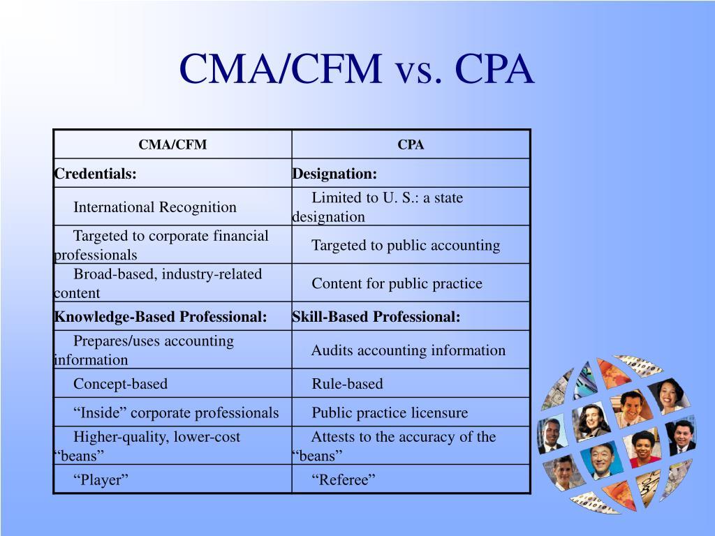 CMA/CFM vs. CPA