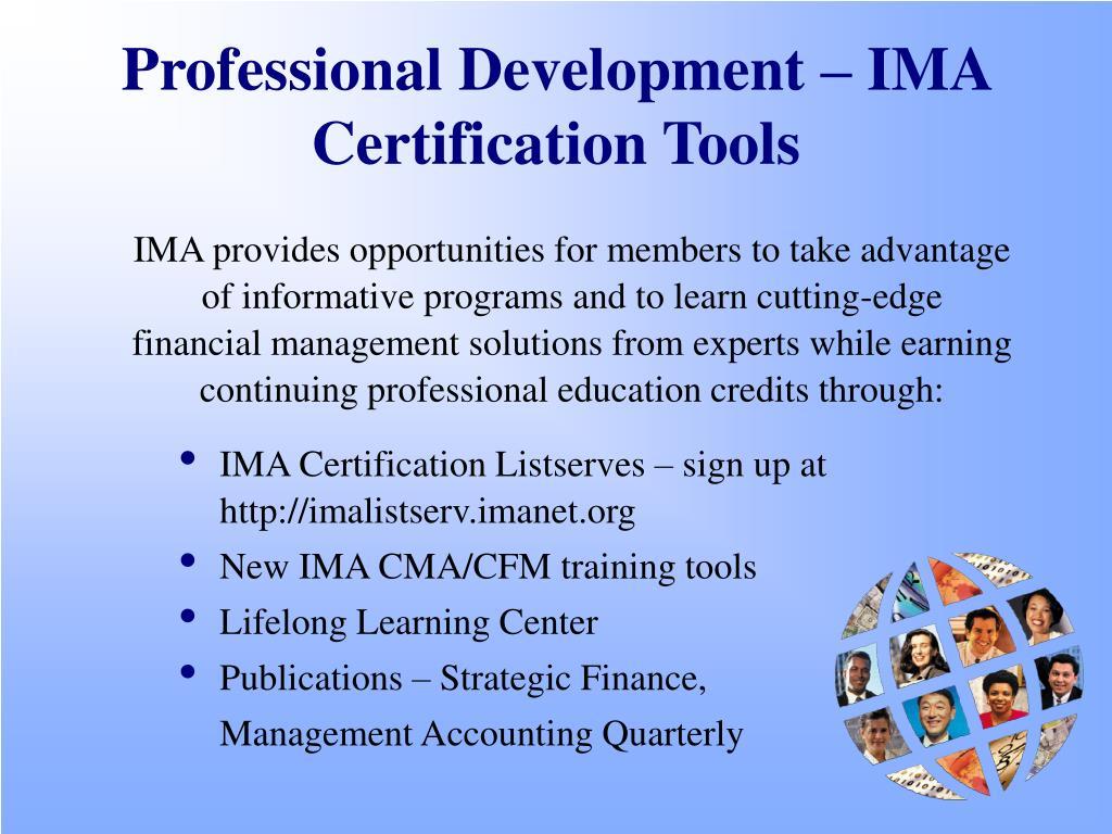 Professional Development – IMA Certification Tools