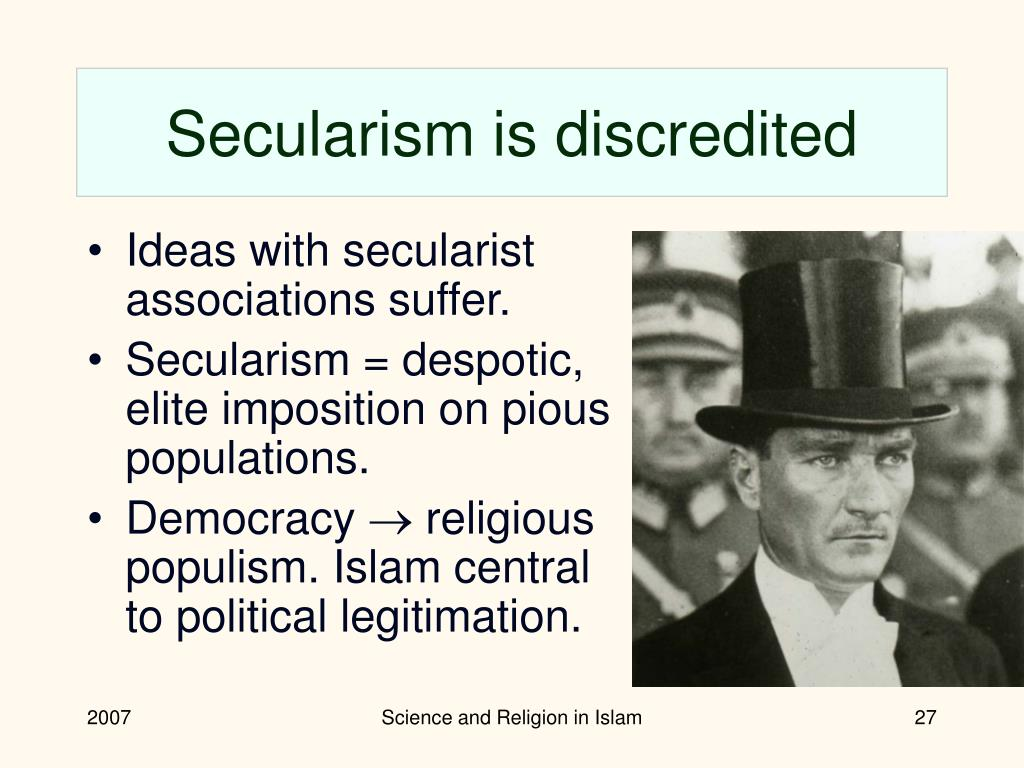 Secularism is discredited
