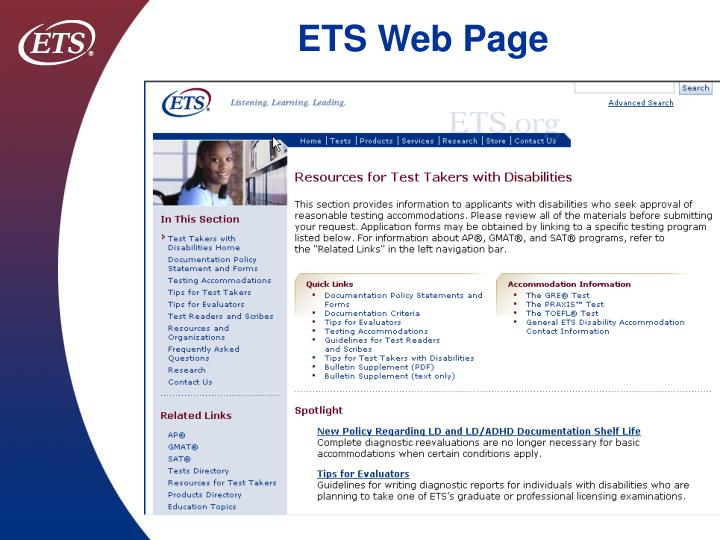 Ets web page