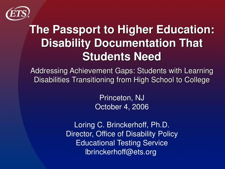 The Passport to Higher Education:  Disability Documentation That Students Need