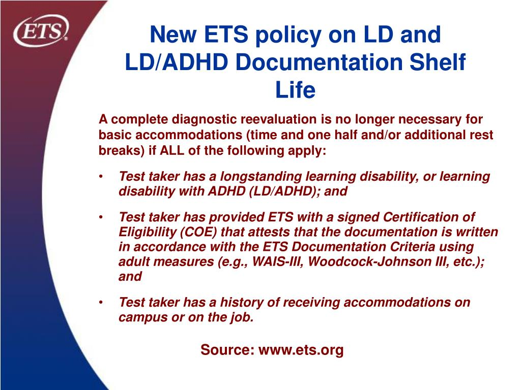 New ETS policy on LD and LD/ADHD Documentation Shelf Life