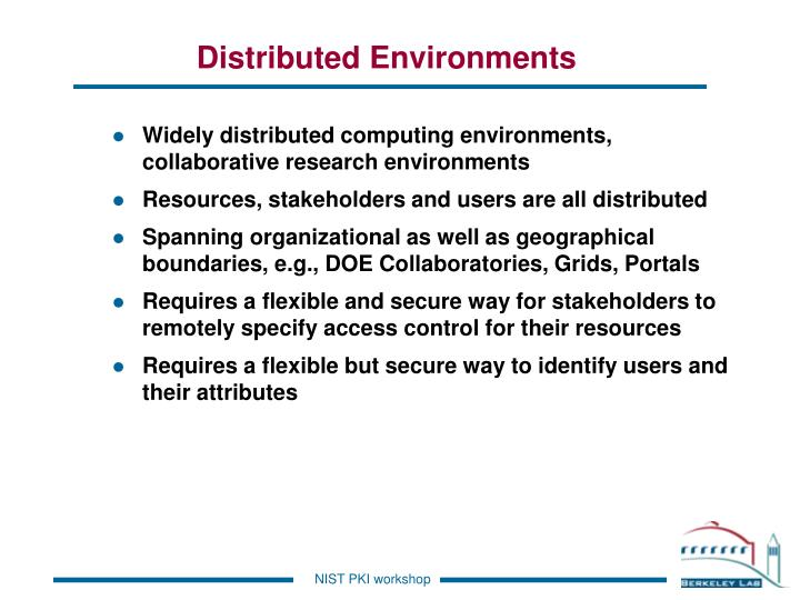 Distributed environments