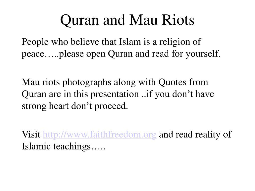 quran and mau riots l.