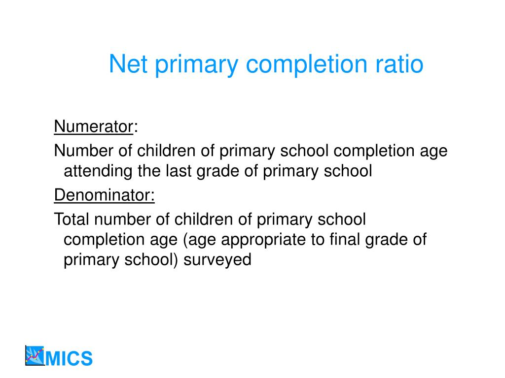 Net primary completion ratio
