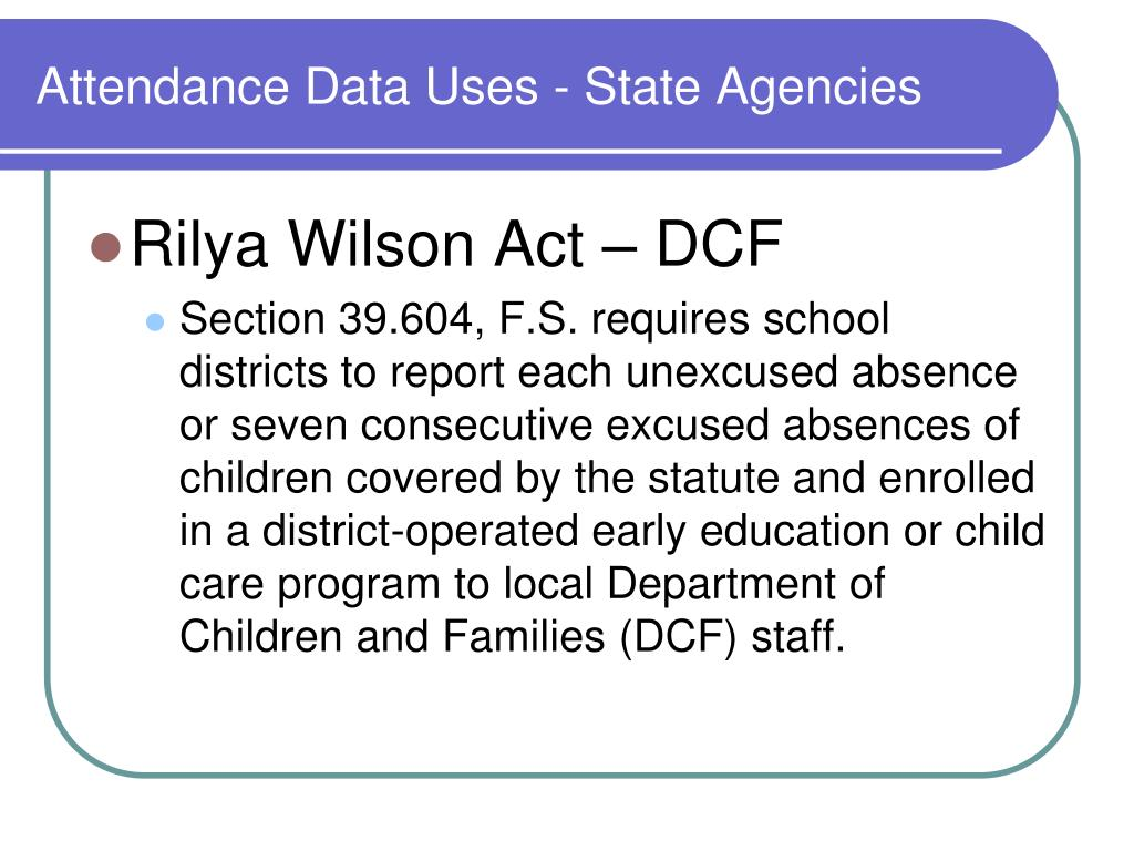 Attendance Data Uses - State Agencies