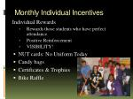 monthly individual incentives