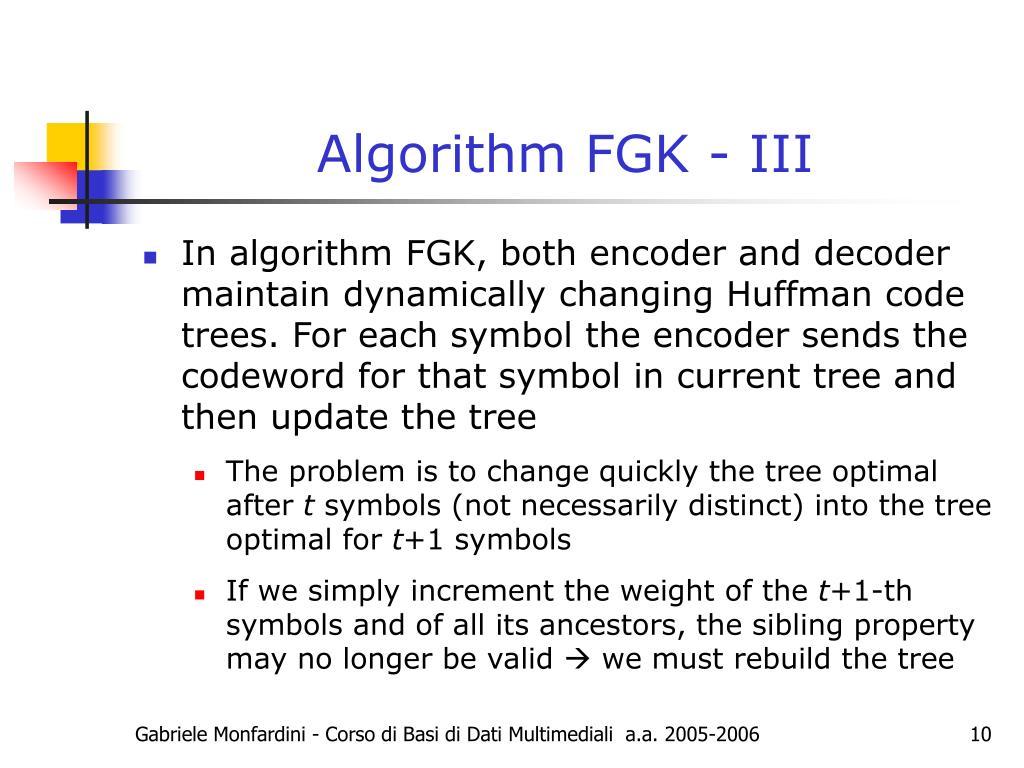 Algorithm FGK - III