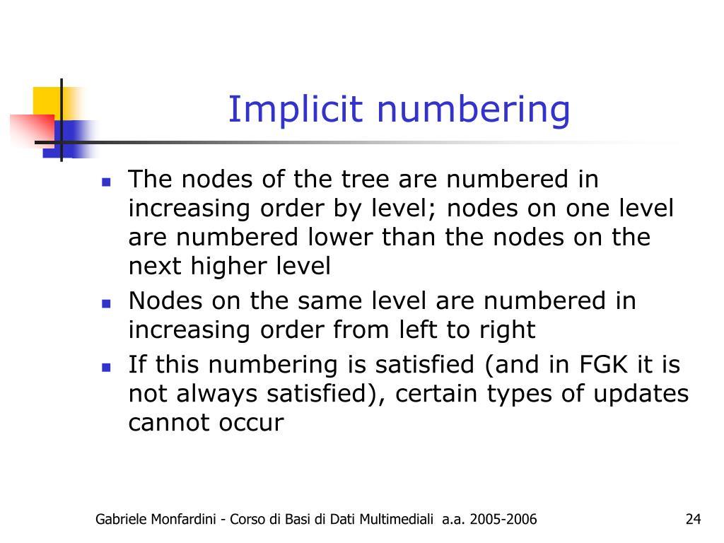 Implicit numbering