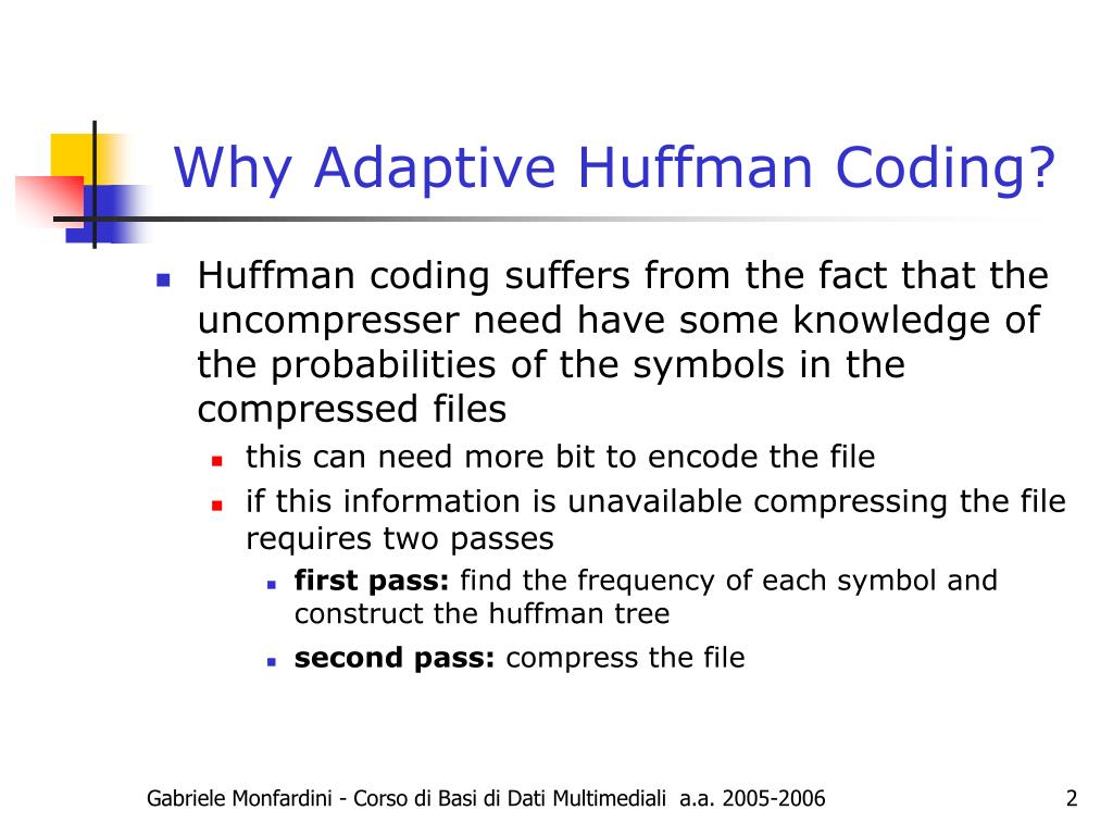 Why Adaptive Huffman Coding?