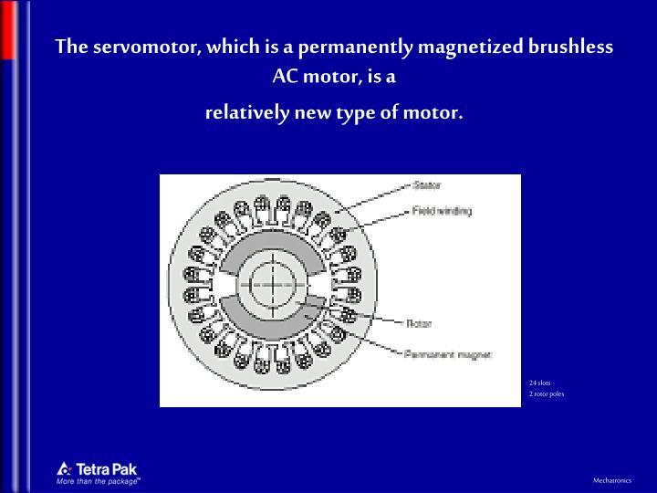 The servomotor, which is a permanently magnetized brushless AC motor, is a