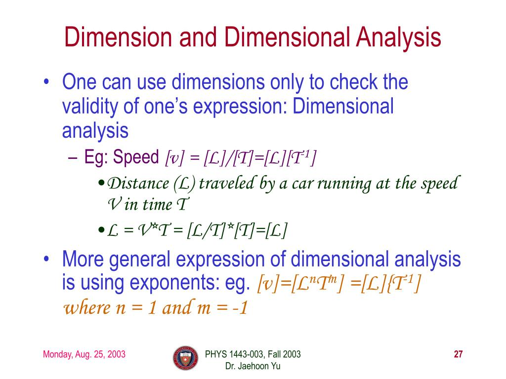 Dimension and Dimensional Analysis