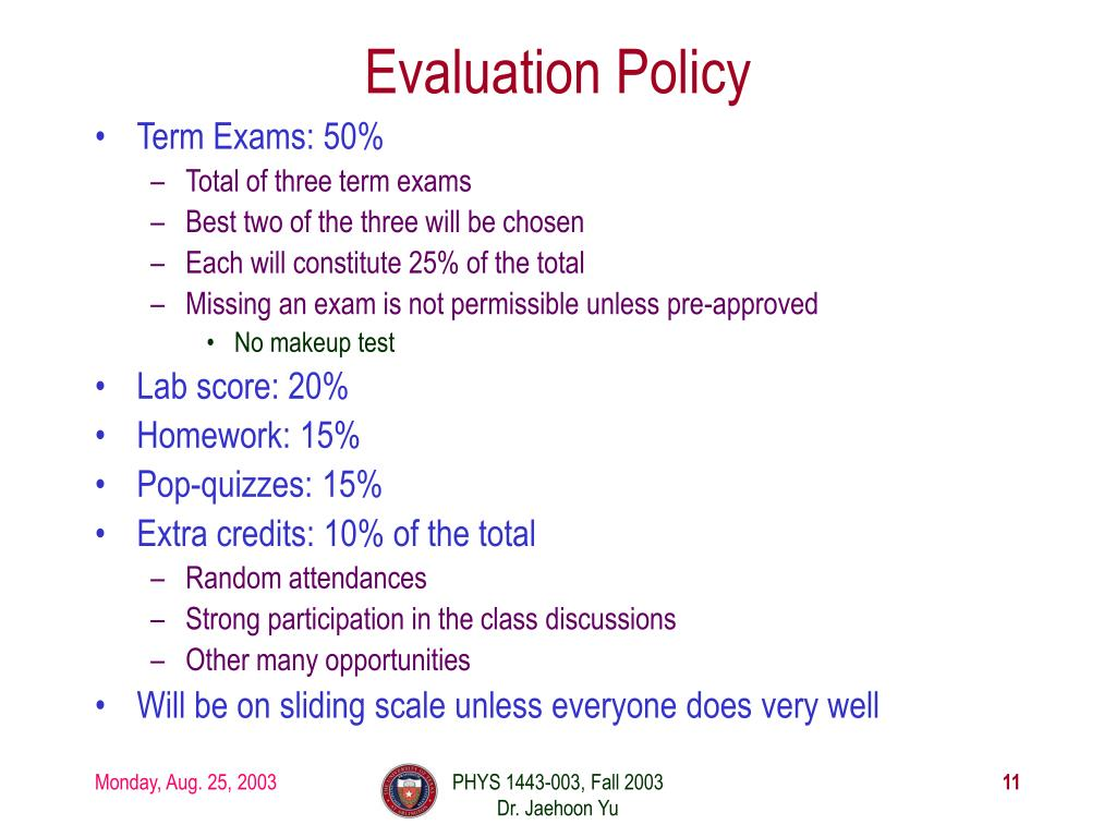 Evaluation Policy