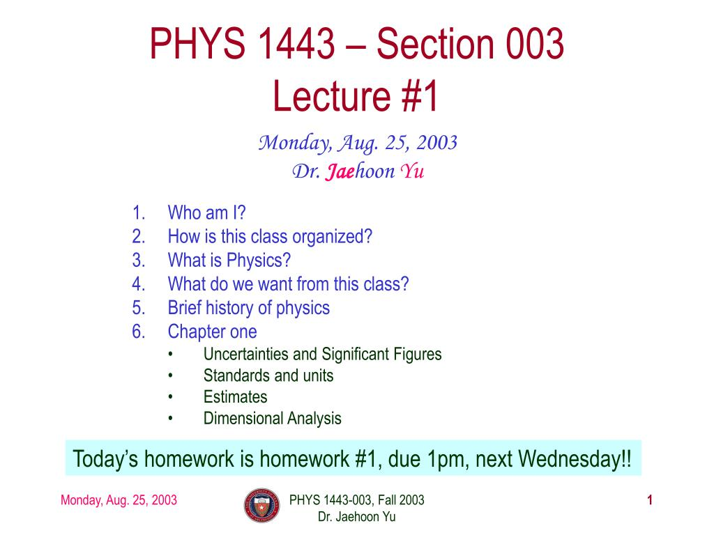 PHYS 1443 – Section 003