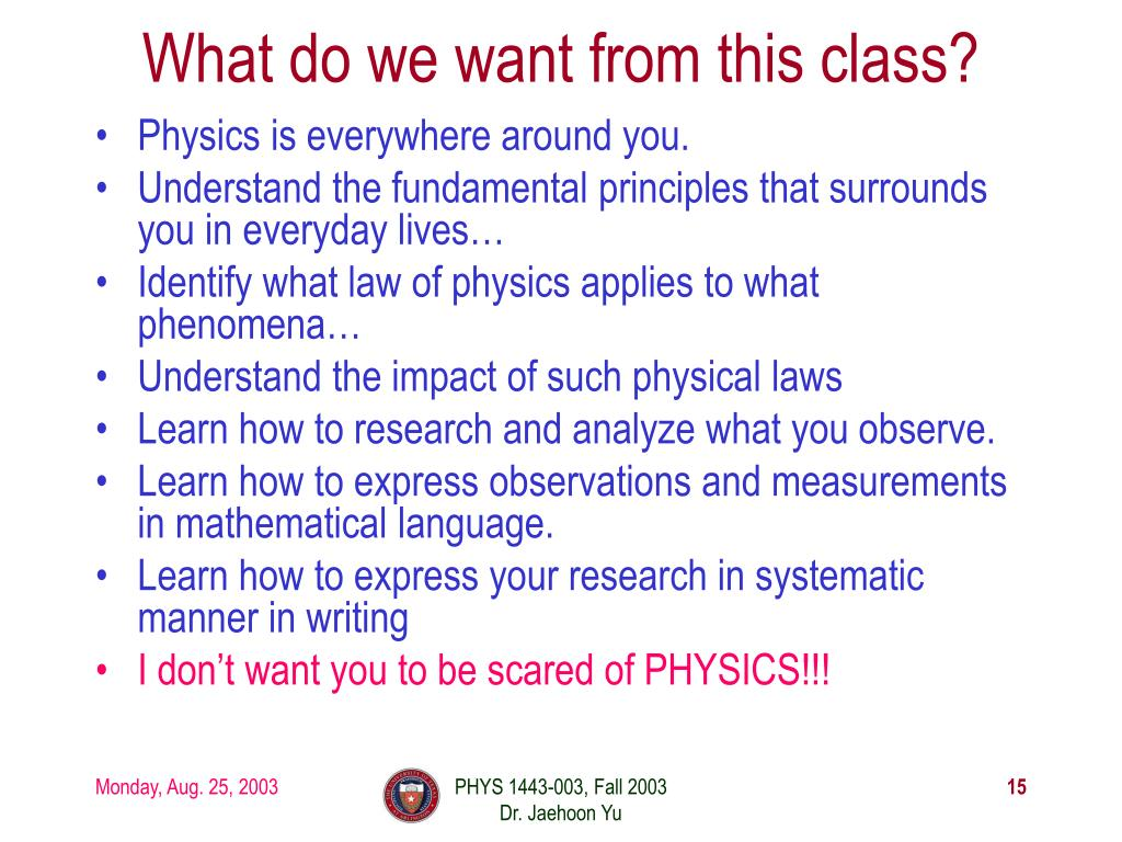 What do we want from this class?