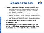 allocation procedures