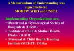 a memorandum of understanding was signed between mohfw who and unfpa