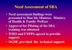need assessment of sba4