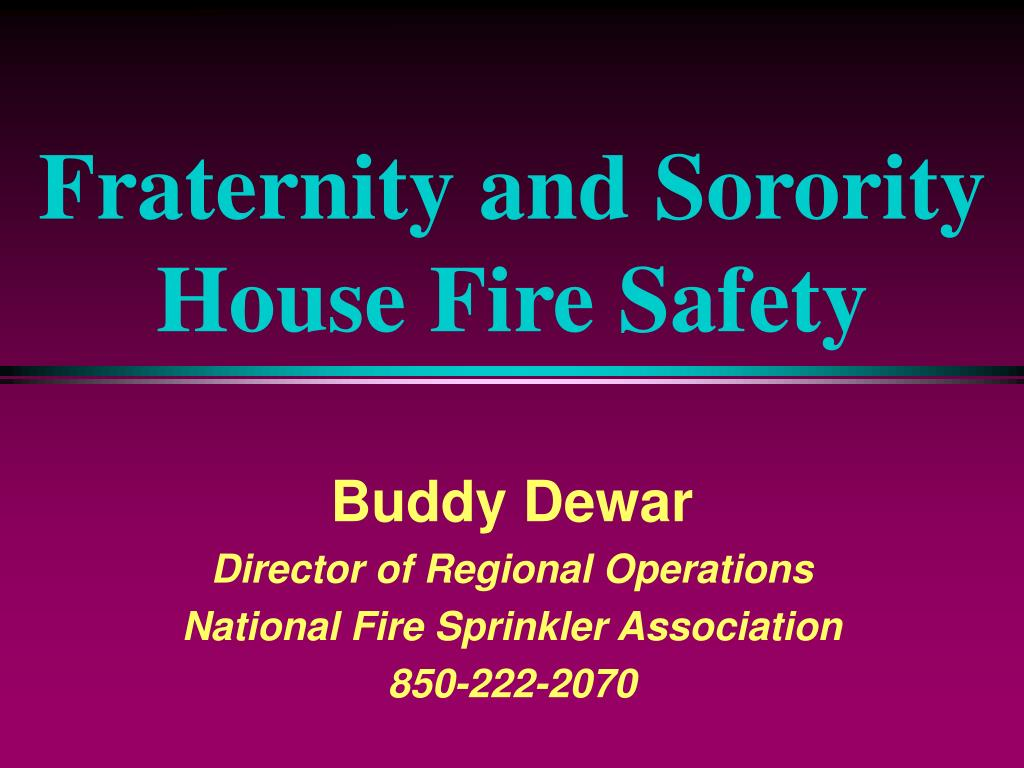 fraternity and sorority house fire safety l.