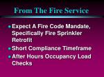 from the fire service