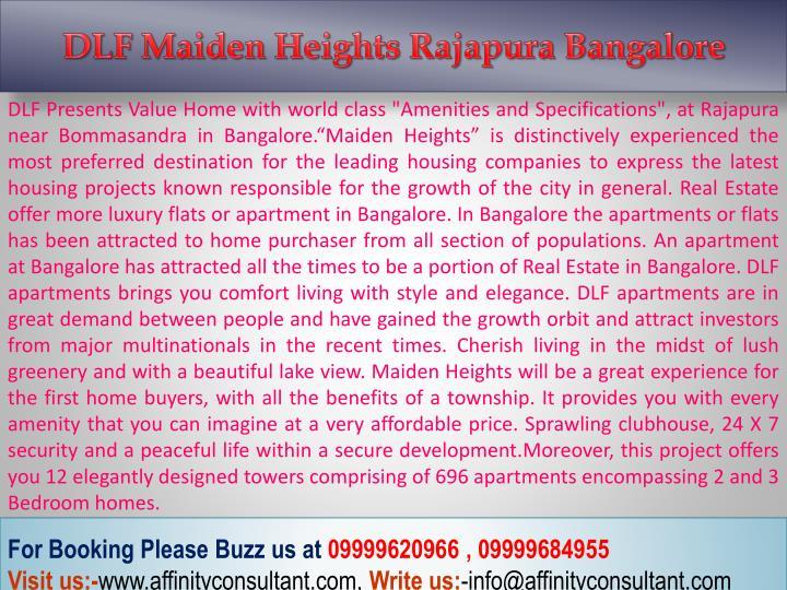 DLF Maiden Heights Rajapura Bangalore