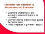 facilitator role in relation to assessment and evaluation