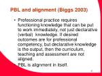 pbl and alignment biggs 2003