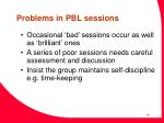 problems in pbl sessions