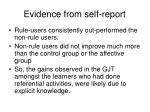 evidence from self report