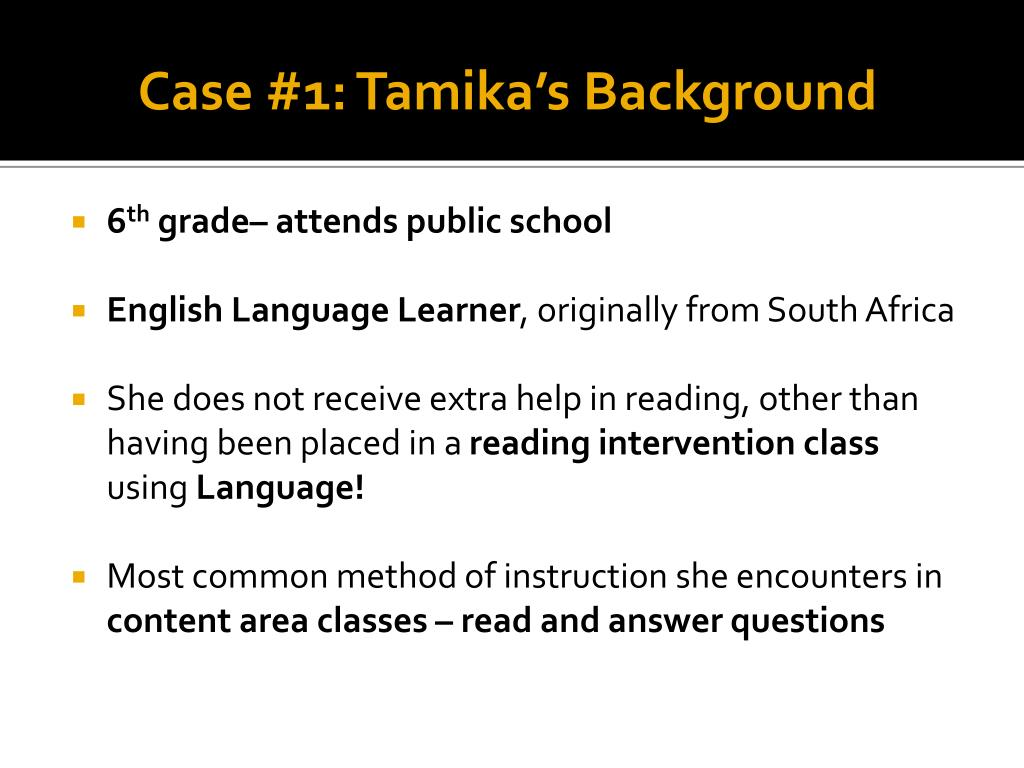 Case #1: Tamika's Background