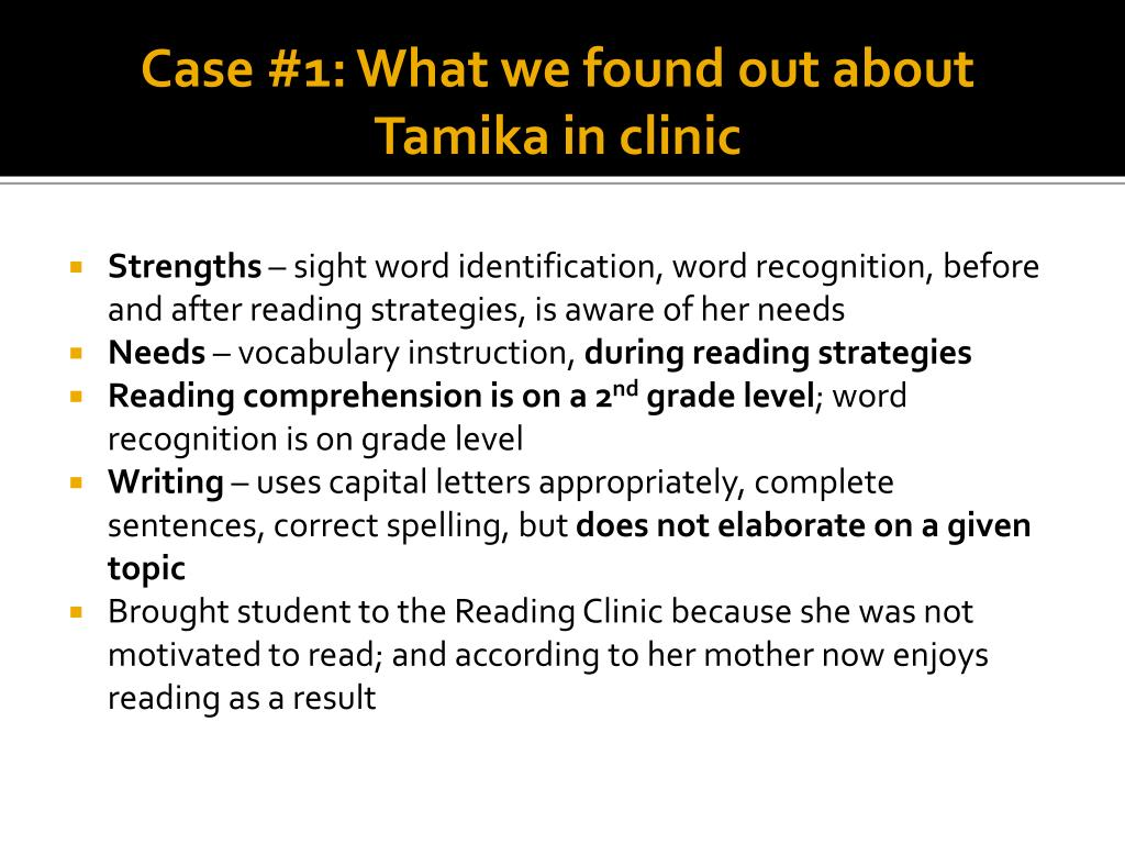 Case #1: What we found out about Tamika in clinic