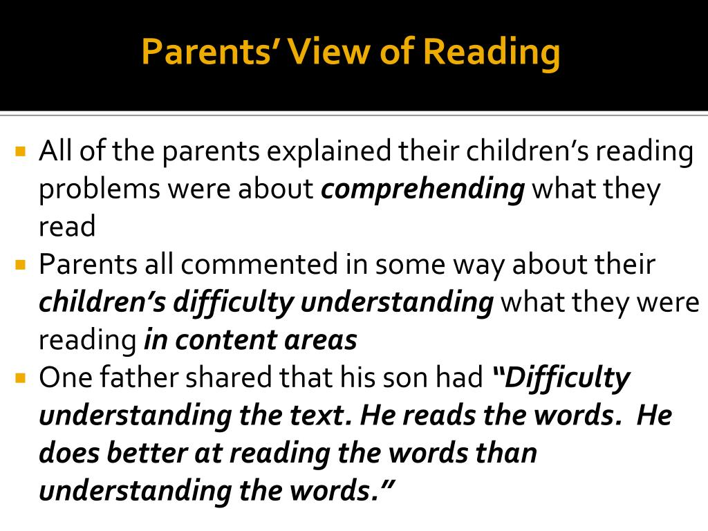 Parents' View of Reading