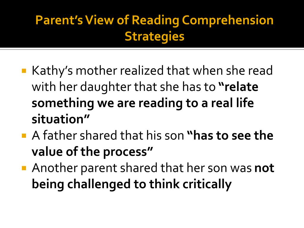 Parent's View of Reading Comprehension Strategies