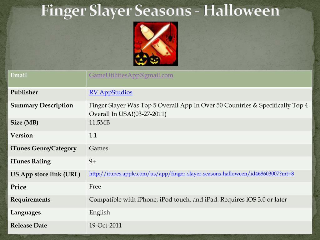 finger slayer seasons halloween l.