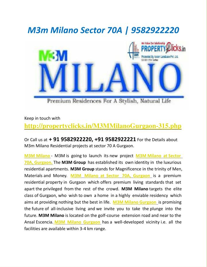 M3m Milano Sector 70A | 9582922220