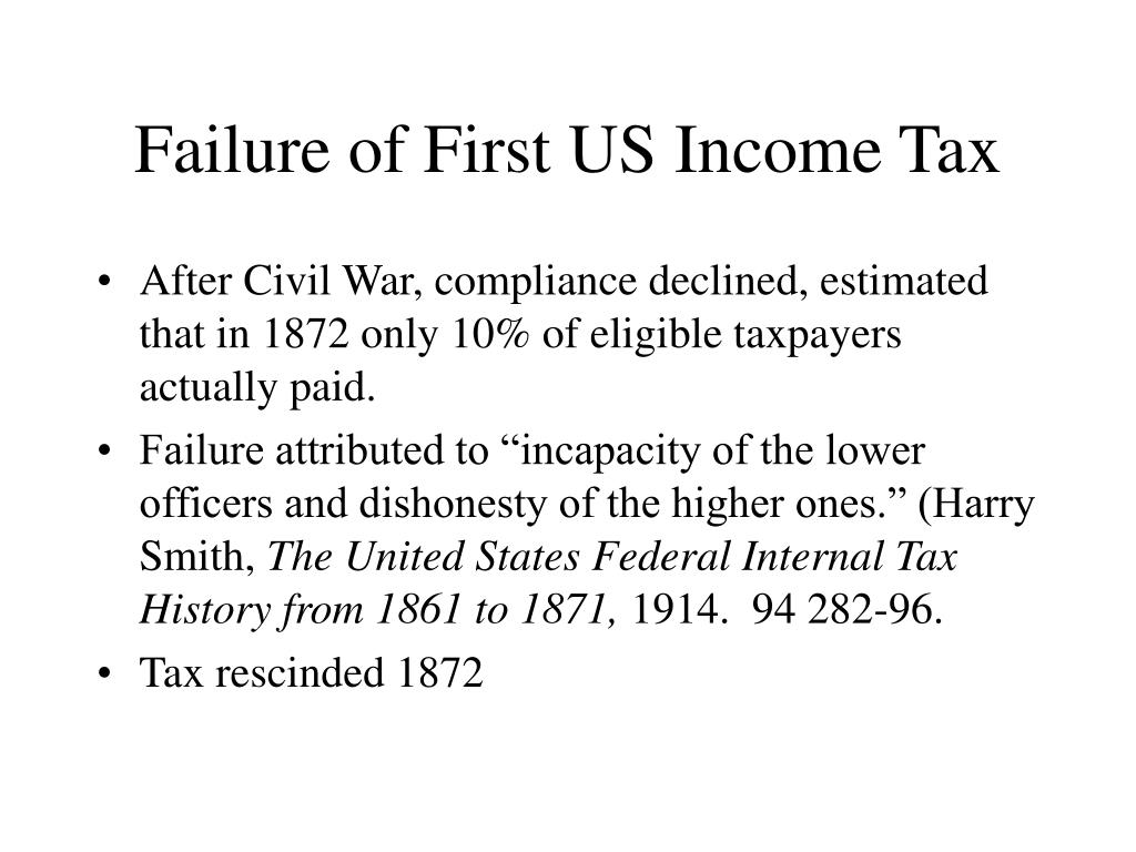 Failure of First US Income Tax