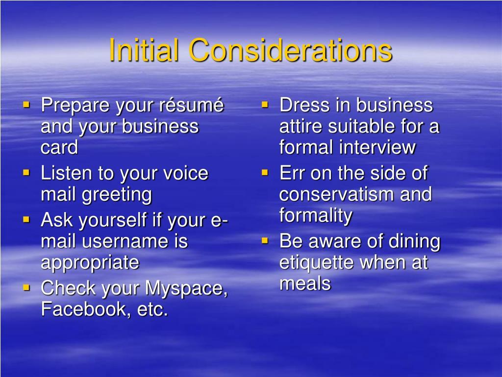Prepare your résumé and your business card