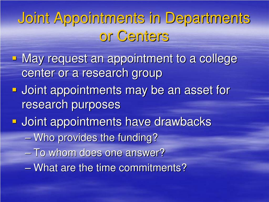 Joint Appointments in Departments or Centers