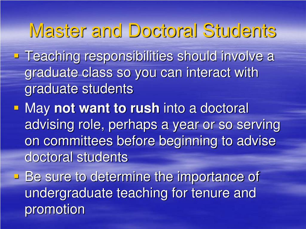 Master and Doctoral Students