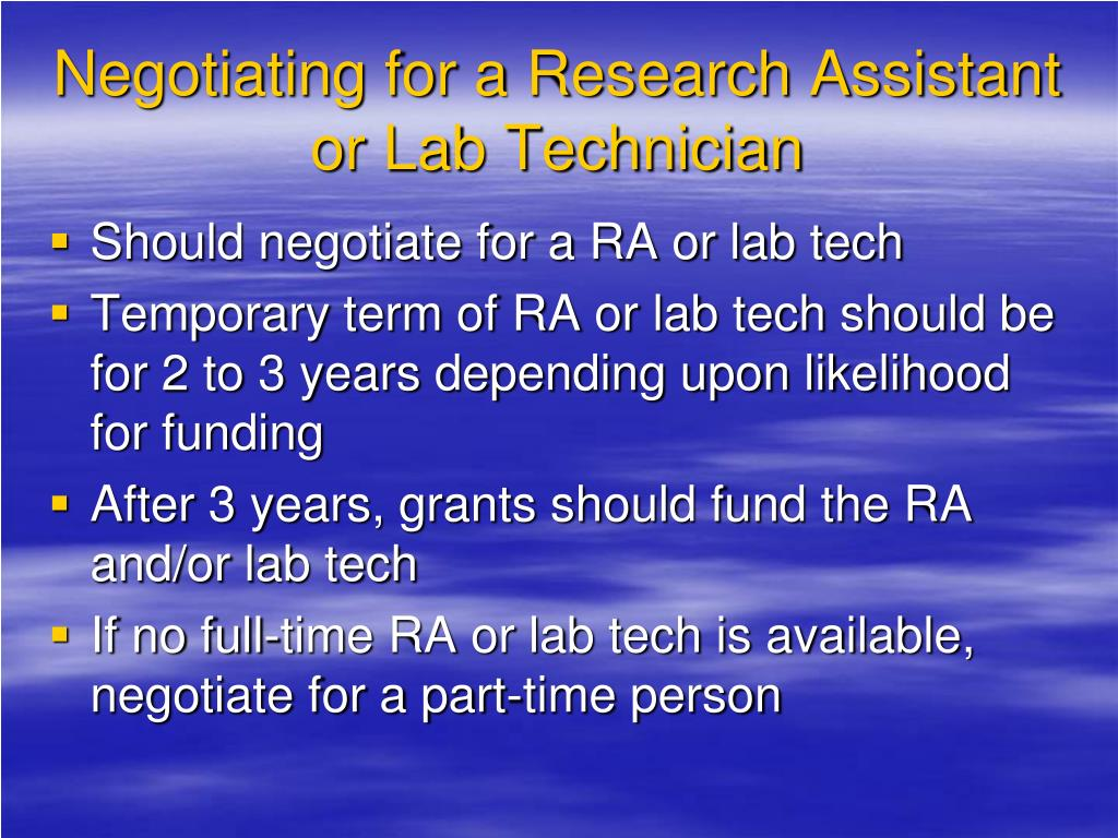 Negotiating for a Research Assistant or Lab Technician