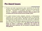 pre award issues18
