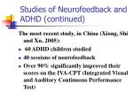 studies of neurofeedback and adhd continued
