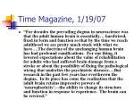 time magazine 1 19 07