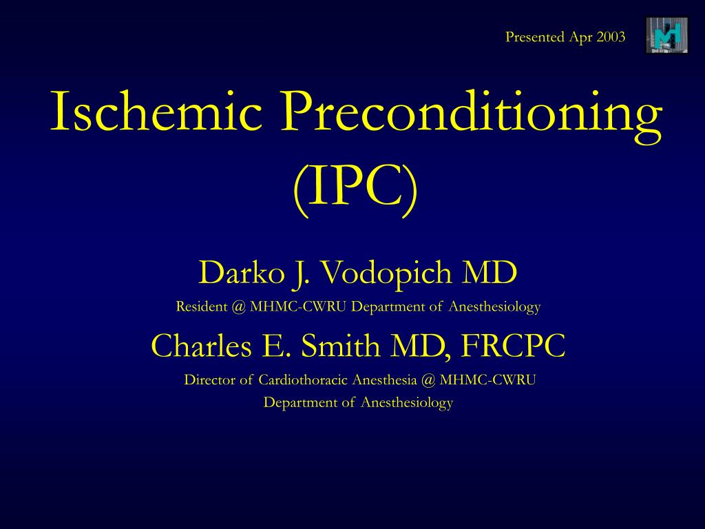 ischemic preconditioning ipc l.