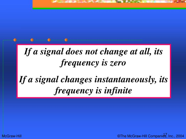 If a signal does not change at all, its frequency is zero