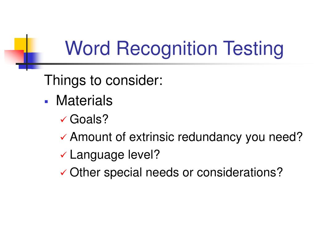 Word Recognition Testing