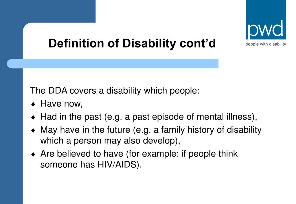 Definition of Disability cont'd
