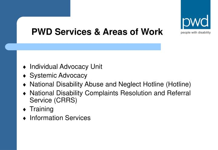 Pwd services areas of work
